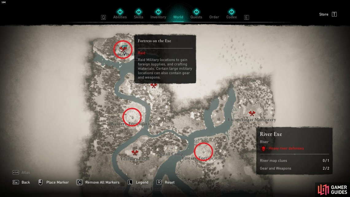 The three most likely locations to find the armor are circled above.