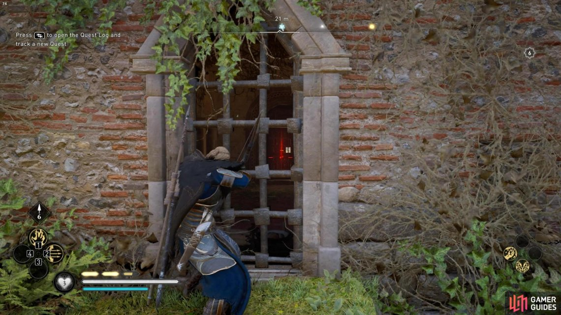 To unlock the door, you'll need to shoot the lock through the window on the other side of the church.