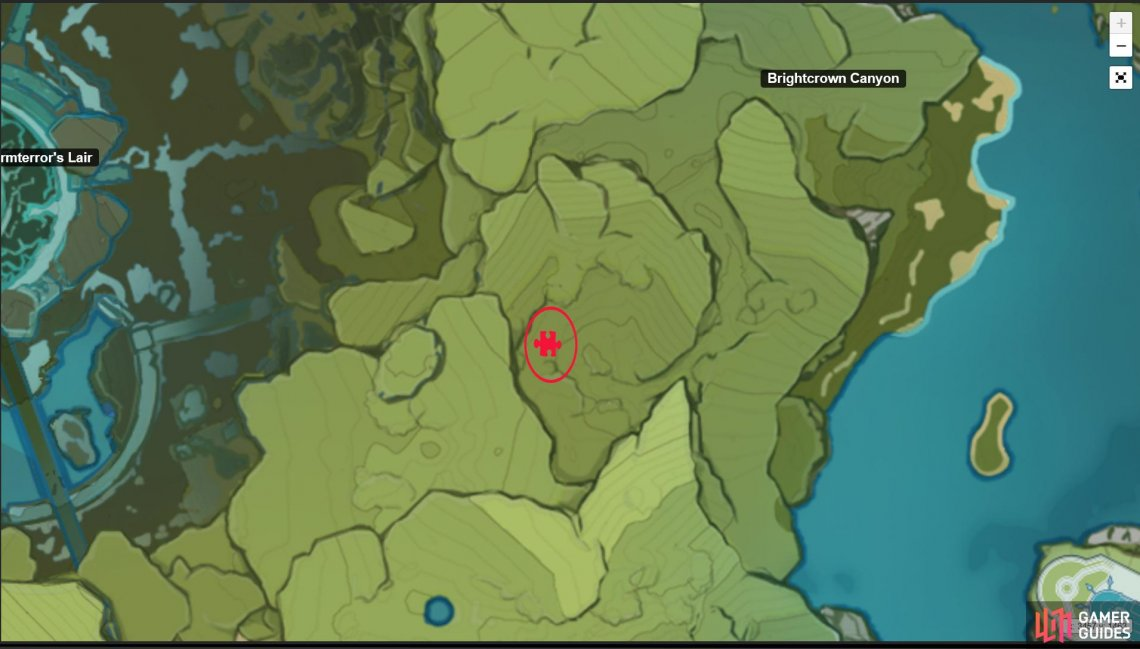 The location of the Secret Treasure is shown in this map