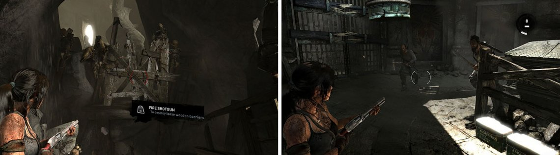 The shotgun is great for clearing barricades and enemies who dare to charge Lara.