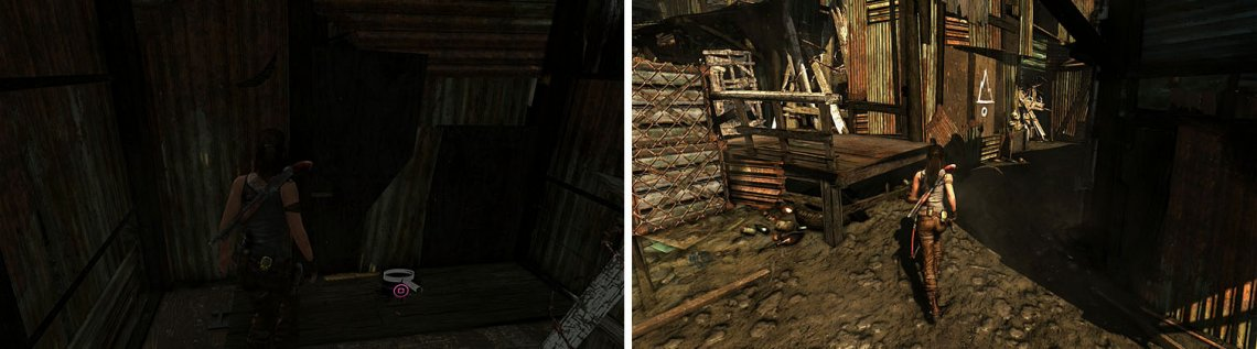Don't miss the GPS Cache on the floor between two barricades (left). The building with the painting had two barricades, each with items (right).