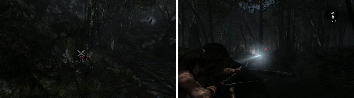 When you spot the men, you should also find a mushroom (left). Let the men separate before you kill them with headshots from your stealthy bow (right).