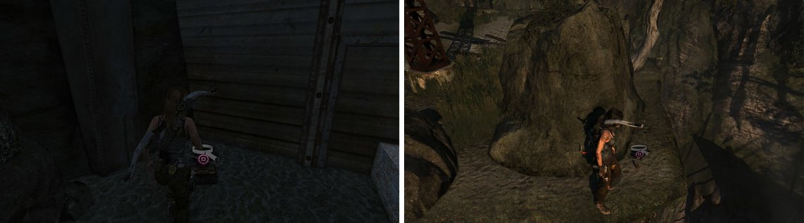 Grab the Japanese Coin relic near the camp (left) before sliding down the rope to find a GPS Cache behind some rocks (right).