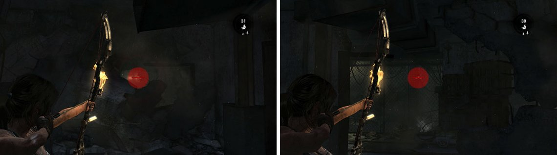 Shoot through the rubble to drop some salvage (left) and through the hall mesh for the final Sun Totem (right).