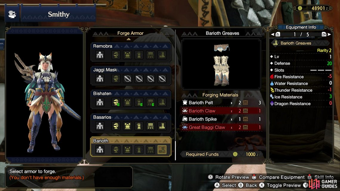 Three pieces of the Barioth Armor set requires Barioth Spikes to craft.