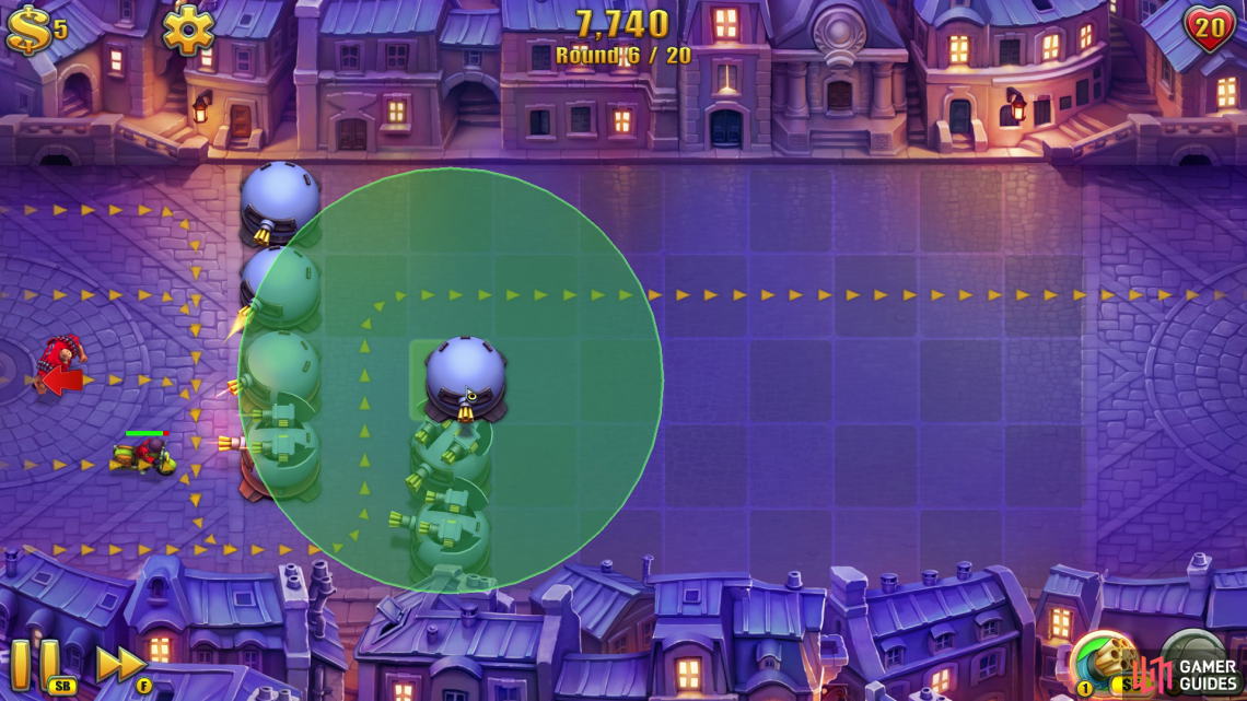 Once you're prompted to use the Glue Tower… don't. Instead you should use the free coins to drop another two Gatling Towers so you're creating a U-bend that goes towards the top of the map.