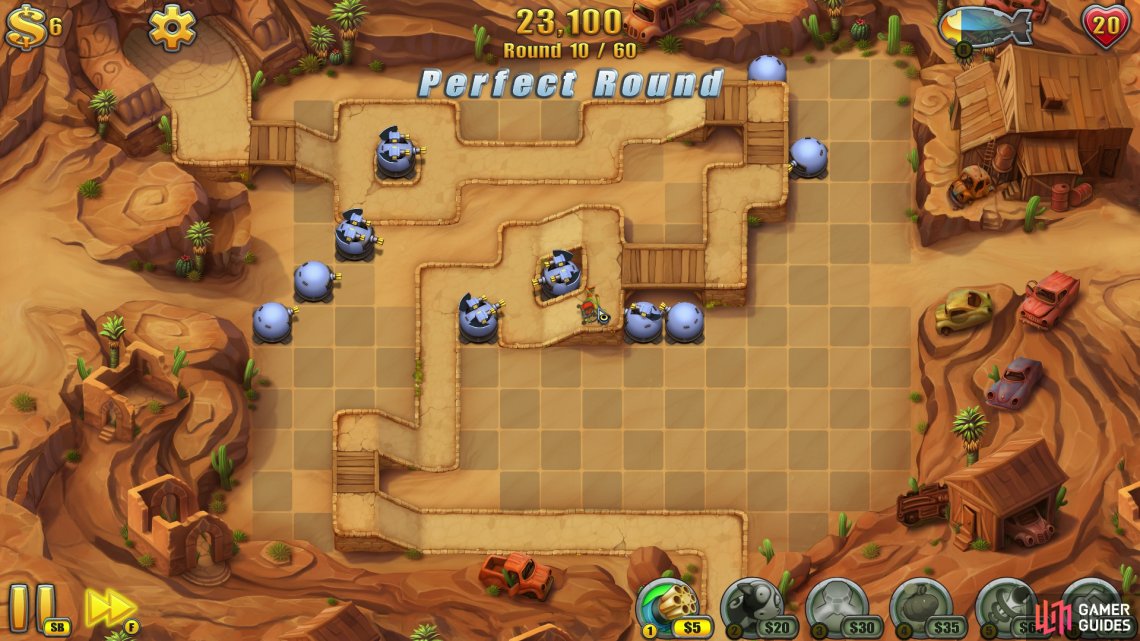 This map isn't too difficult to do without any items, buy your towers will need to be placed properly and upgraded appropriately, otherwise enemies will slip through the cracks (and here at GamerGuides.com, we don't tolerate Fieldrunners making it to the exit).