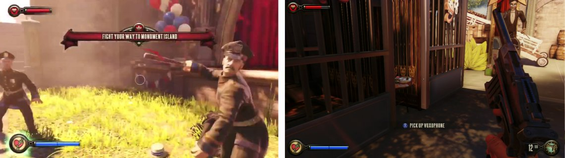 Fight your way through the policemen (left). Keep an eye out for the Voxophone between a pair of cages (right).