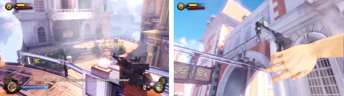 Clear the area (left). Then use the hook (right) to reach a balcony. Enter the door to find a piece of Gear inside.