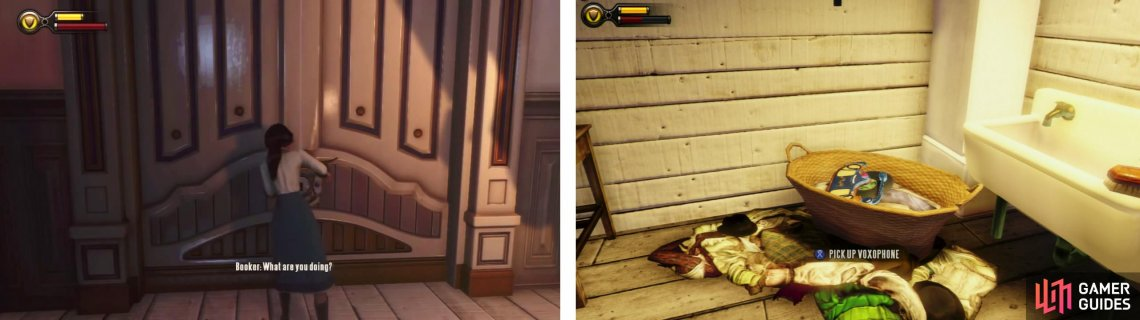 Have Elizabeth pick the lock (left). Go through the door at the end of the hall of a piece of gear and a Voxophone (right).