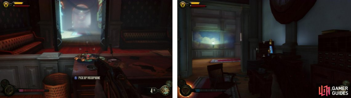 After the ambush, check out the room at top of the stairs for a Voxophone (left) and enter the ticket office for an Infusion Upgrade (right).