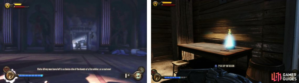 After the ambush, enter the room the enemies emerged from (left) to find a Infusion Upgrade inside (right).