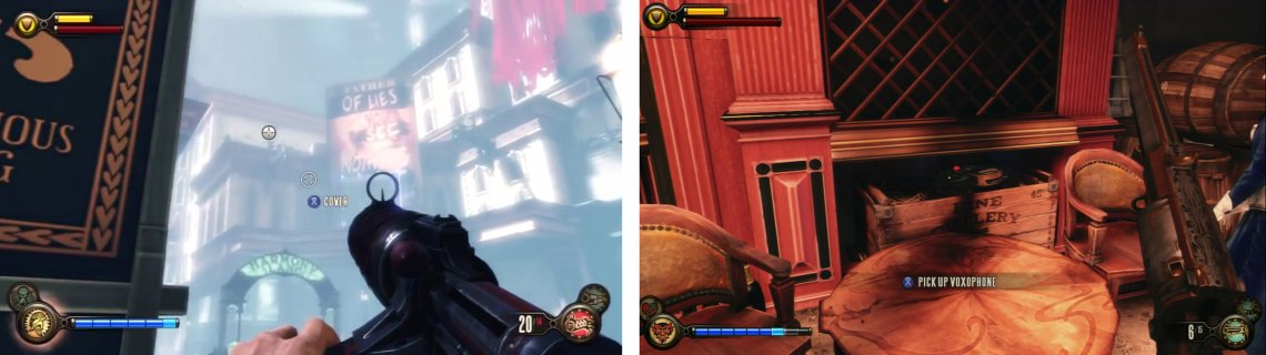 Clear out all the snipers (left) and then enter the first door to the left over the bridge to find a Voxophone inside (right).