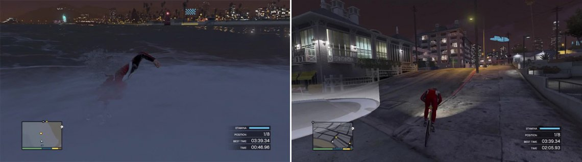 You do not need to go flat out to be in first place during this section. The swimming part is very small anyway (left). You can really cut corners and still hit the checkpoints so always bear that in mind (right).