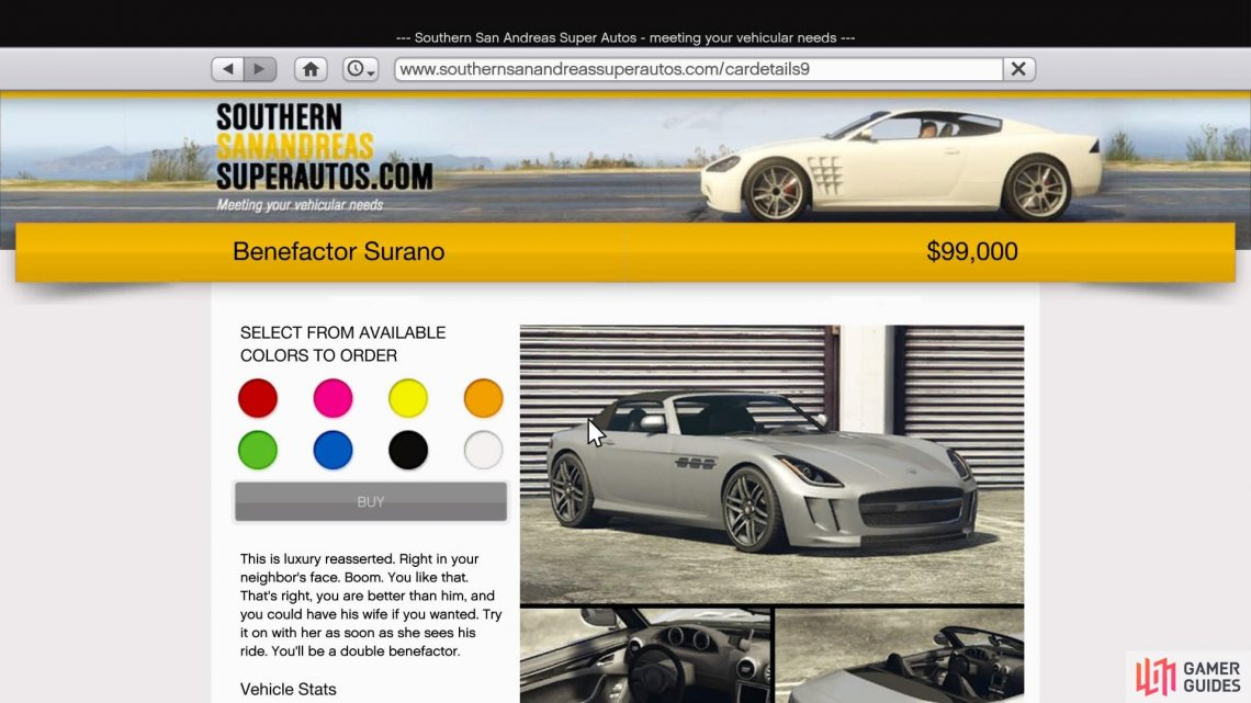 Purchase the Surano off Southern San Andreas Super Auto for $99,000