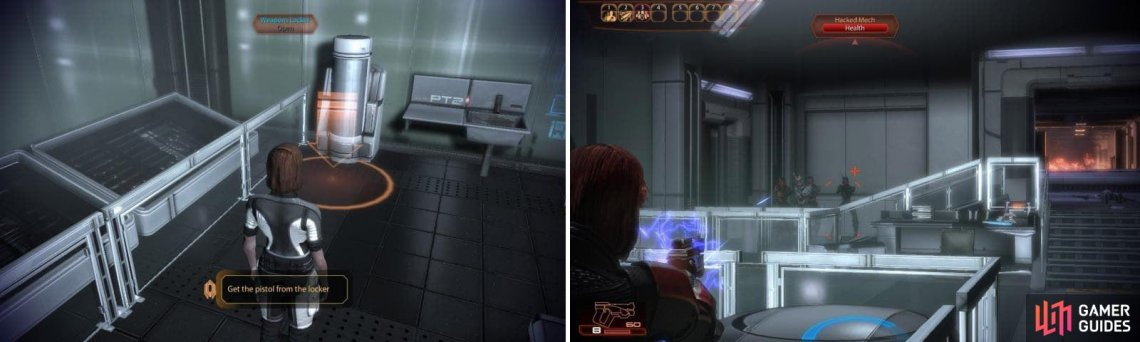 Collect the pistol from the locker (left) and then proceed to shoot the Hacked Mechs in the head (right).