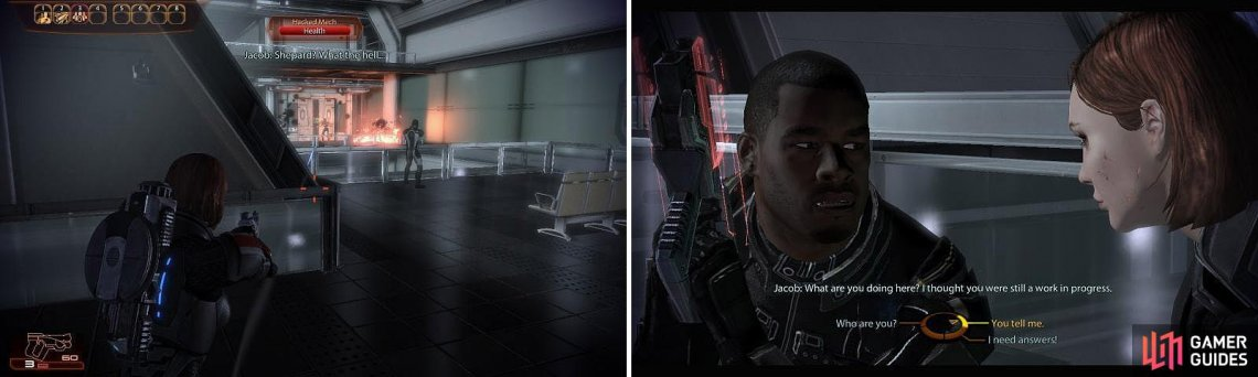 Help Jacob fight off the Mechs here (left) and then speak to him to learn more about the situation (right).