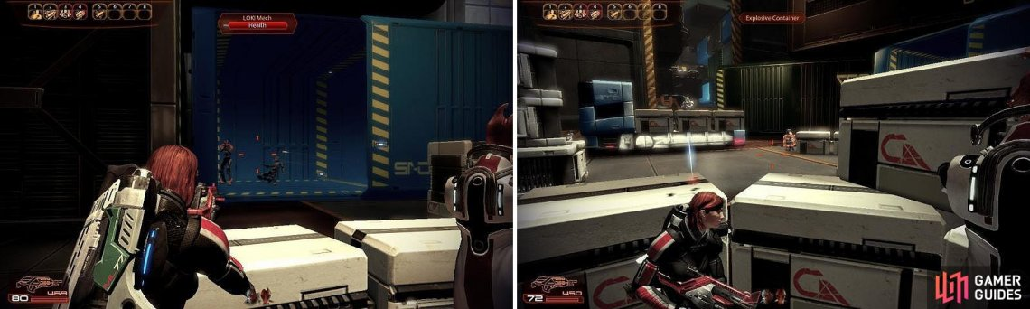 Watch out for the large crates (left), they often contain LOKI Mechs (right).
