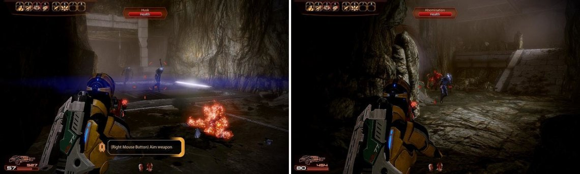 Work your way through the mine (left) but watch out for the Abominations and Husks (right).
