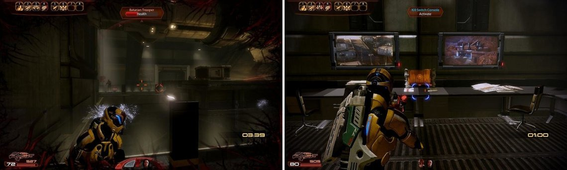 Clear out the main room of Batarians (left) then interact with the kill code console (right).