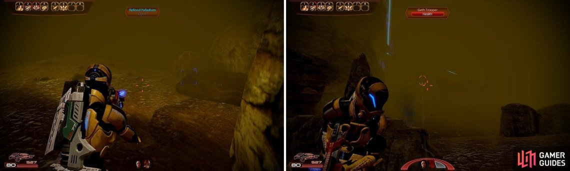 Keep an eye out for Palladium deposits (left). The fog will also make things difficult during combat (right).
