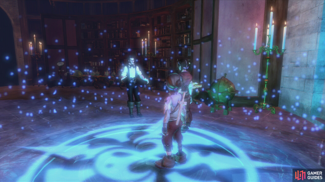 Stand in the glowing circle for a scene to end the prologue.