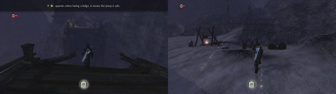When you reach the broken bridge, dive into the water below (left). Swim to the nearby beach (right).