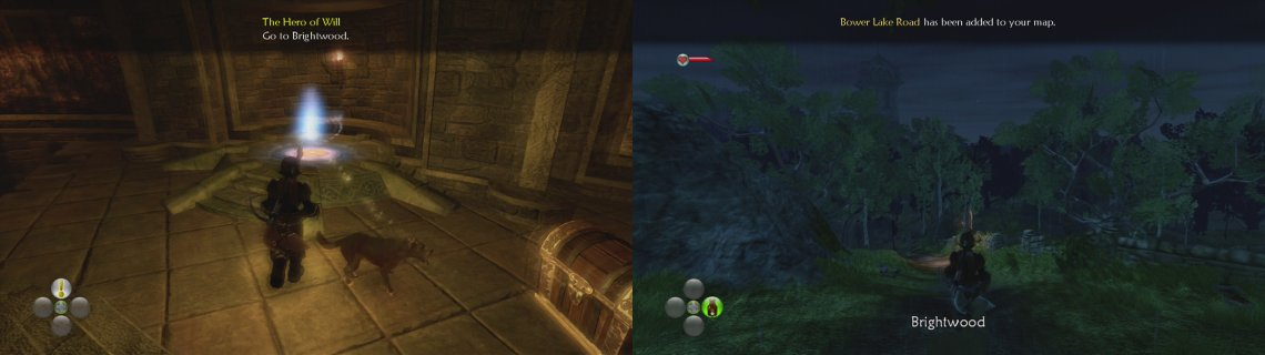 Use the Cullis Gate to leave the Hero's Guild (left) and then make your way to Brightwood (right).
