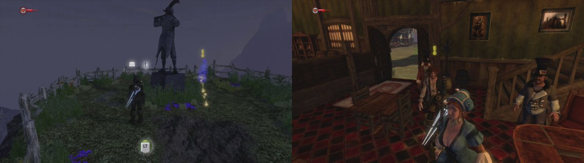 Pick up the quest from the ghost (and the key nearby) (left) and then head to Bowerstone to seduce your target (right).