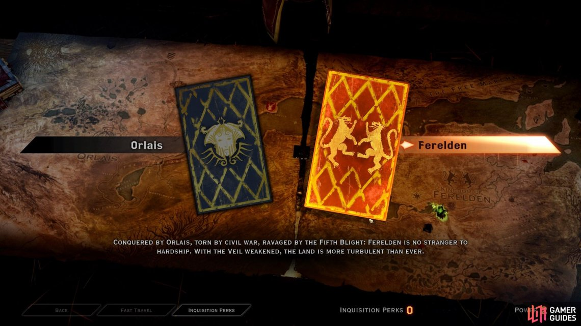When you visit the War Table, you can choose between two realms - Orlais and Ferelden - to complete missions within.