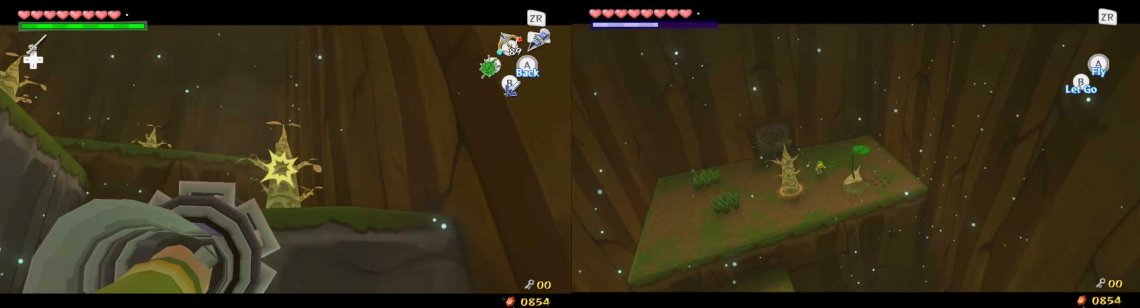 Make Link Hookshot up to that tree, and defeat any Blue Bubbles you can. Then fly Makar to the next ledge and repeat this until you get to the highest ledge. There, pick Makar up and go through the door.