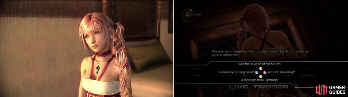 The younger Farron sister, Serah has a much larger role in this game than the previous one (left). One of the many Live Triggers, these offer different dialogue scenes depending on your choices (right).