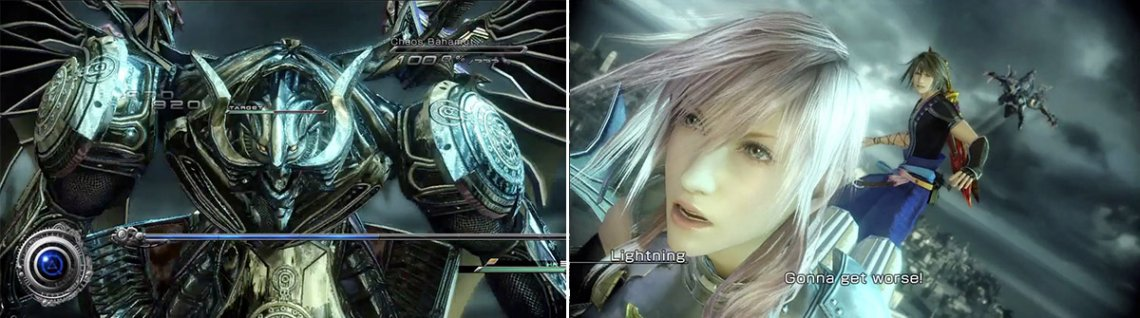 Lightning faces off versus Bahamut. Since this is the first battle, it isn't terribly difficult but you must still be careful not to get carried away (left). Bahamut gets a little stronger this next time so be ready (right).