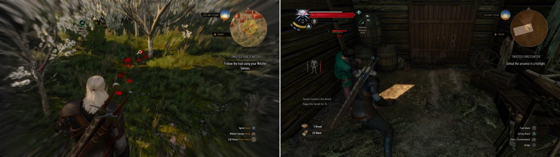 Follow the tracks of the arsonist by using your Witcher Senses (left). One way or another, convince Napp to come with you (right).
