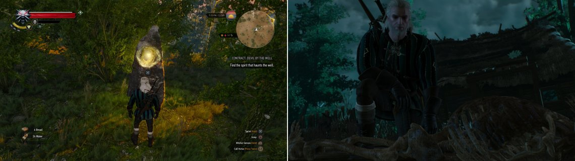 Draw from the Place of Power to gain an ability point (left). Search the abandoned village to make a gruesome discovery in the well (right).