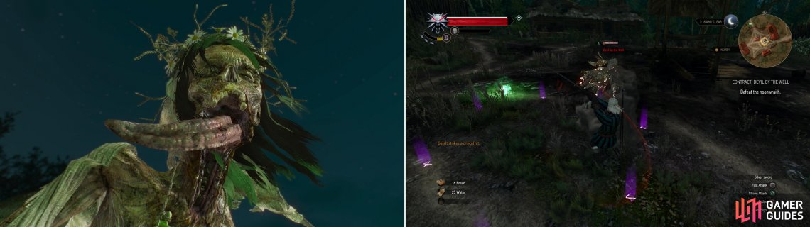 Summon the Devil by the Well (left) then defeat the Noonwraith to banish her (right).