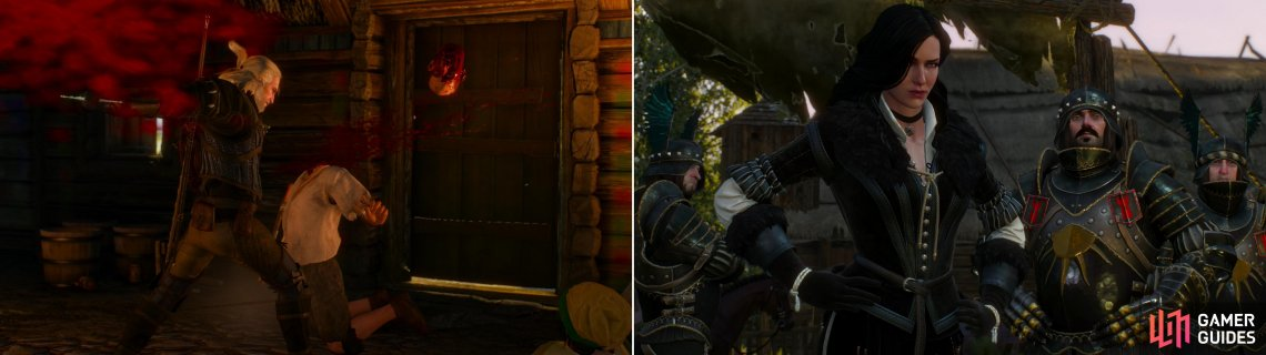 Geralt and Vesemir respond to the escalating violence in the tavern with brutal efficiency (left). Fortunately they are met by Yennefer afterwards and escorted to Vizima (right).