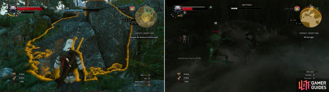 After finding the Foglet's lair, use the Eye of Neheleri to gain access (left) then slay Ignis Fatuus (right).