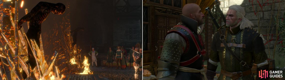 "The Cult of the Eternal Fire has made Novigrad a dangerous place for mages and other magical ""deviants"" (left). Menge, the leader of the city's Witch Hunters, is a particularly unlikable fellow (right)."