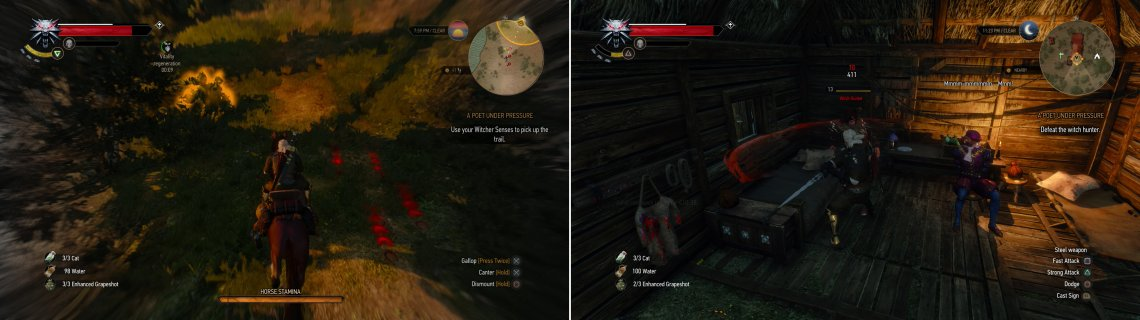 Track the fugitive Witch Hunter down using your Witcher Senses (left) and dispatch him when you find him (right).
