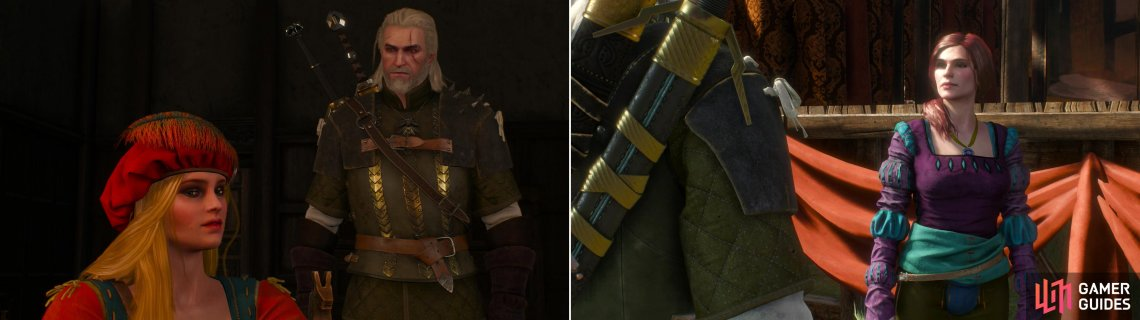 "Geralt ""helps"" Priscilla write a play (left) then heads off to hire Irina's acting troupe (right)."