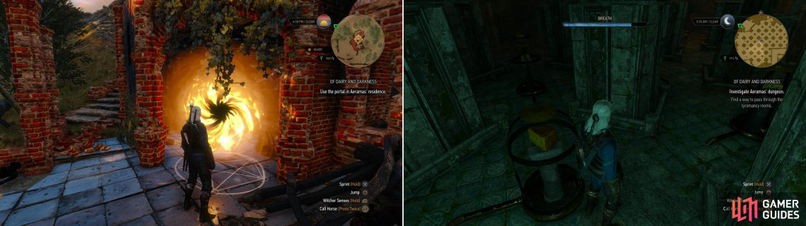 Use the figurines to open a portal in Aeramas Abandoned Manor (left), then navigate through the Trial of the Cheeses-avoiding the smelly cheese as you do so (right).