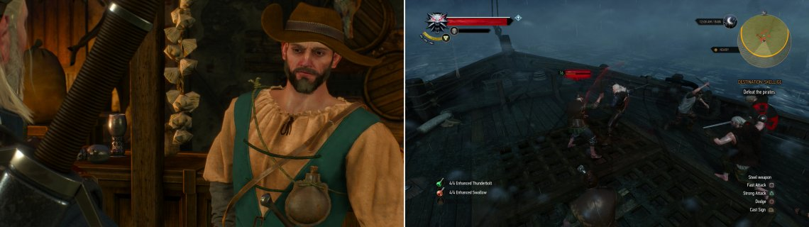 Find Captain Wolverstone In the Golden Sturgeon and pay him a handsome sum to take you to Skellige (left). Geralt is woken during the trip by the traditional Skellige welcoming party… (right)
