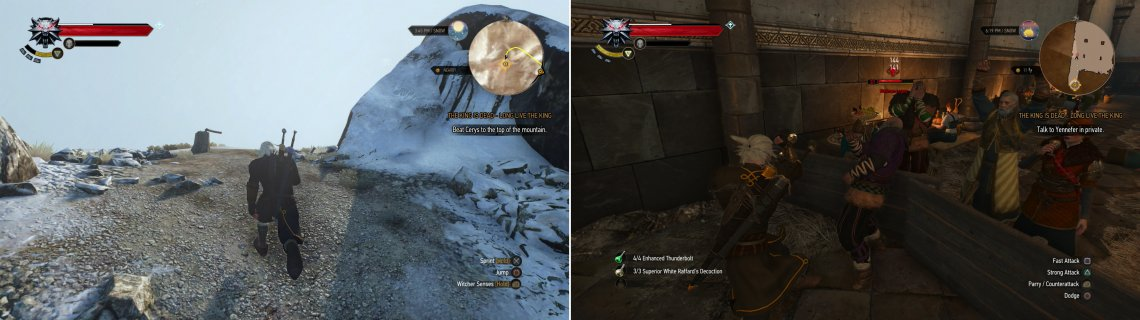 Prove your prowess by racing Cerys (left) and engage in some diplomacy-Skellige-style-with Madman Lugos (right).