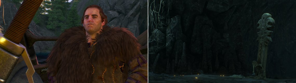 Meet with Blueboy Lugos near the Cave of Dreams (left) then enter the cave and drink a concoction near a totem (right).