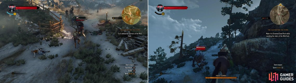 Fight off the Wild Hunt in the village (left) then ride to safety, dodging Hounds of the Wild Hunt as you go (right).