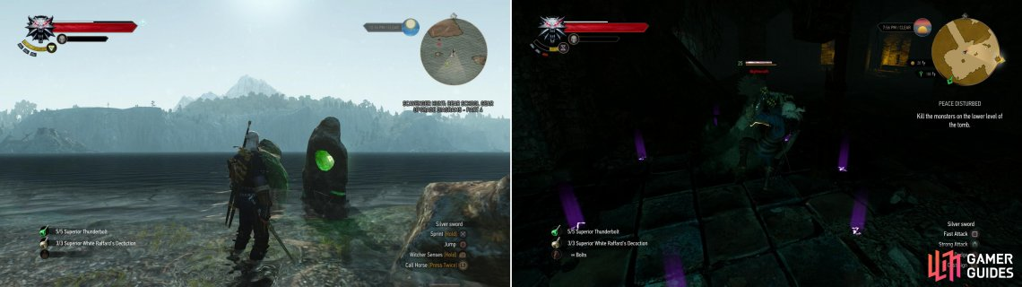 Score a Place of Power near the beach upon which Geralt finds himself after the shipwreck (left). The Nighwraith is the most dangerous of the restless dead in the crypt (right).