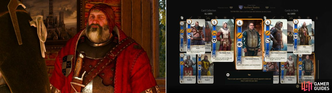 You can play the Bloody Baron (left) to win the handy Sigismund Dijkstra card (right).