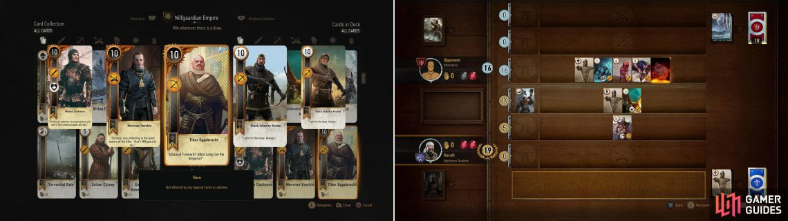 Defeat Olivier at the Kingfisher to win his Tibor Eggebracht Card (left). If you can win the Villentretenmerth card during your games with random Gwent players, you'll be able to use its limited Scorch ability to great effect (right).