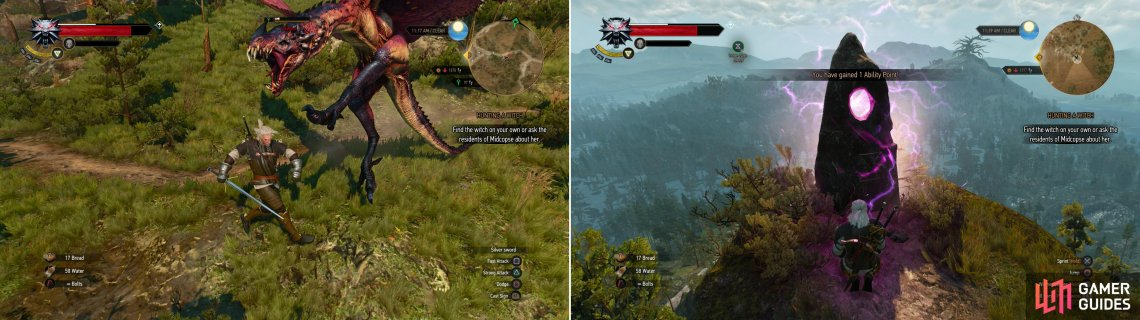 A Wyvern might attack you on the mountain path near Downwarren (left). Brave the heights and the beasts to reach a Place of Power on a peak (right).